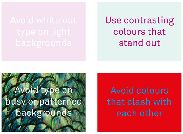 Text colour and image combinations to avoid
