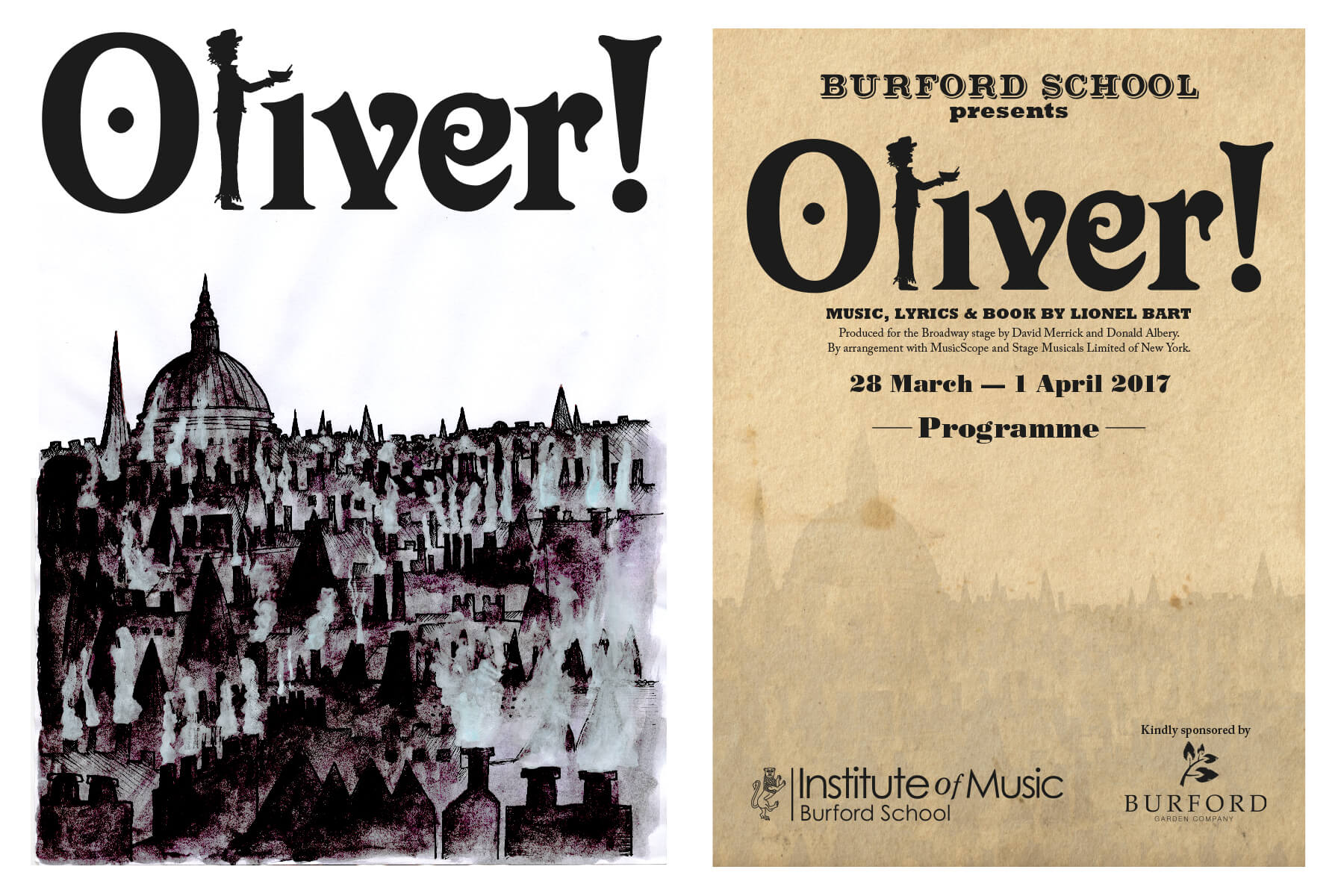 Watercolour backdrop and logo for Oliver!